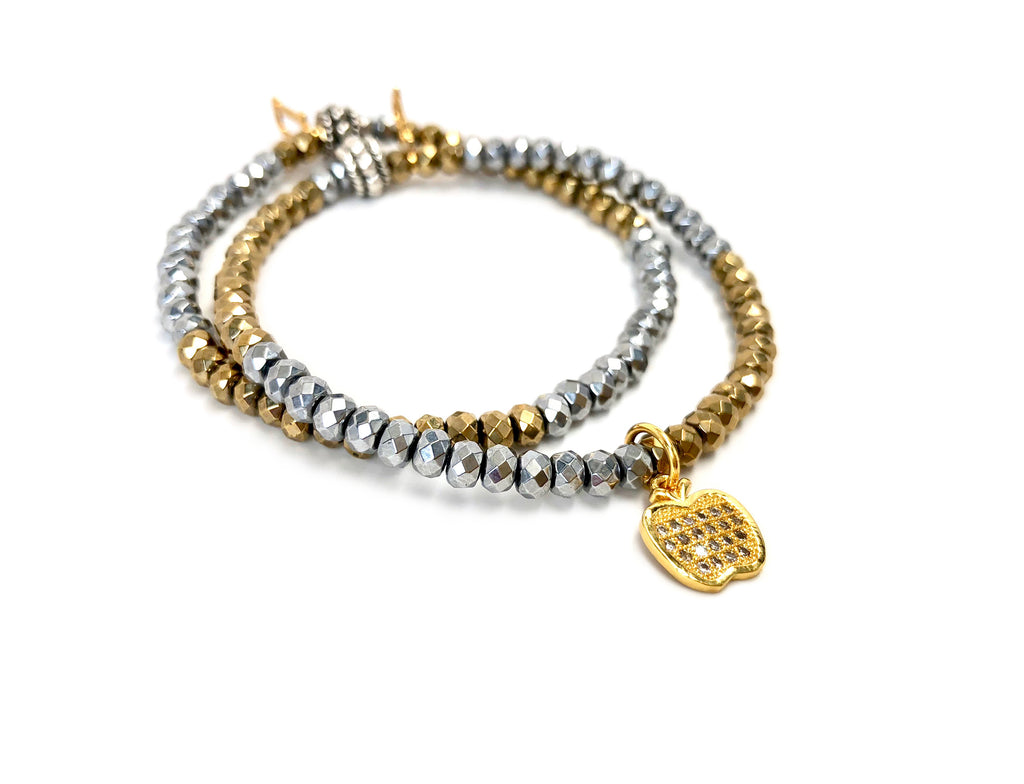 Gold Apple Charm Bracelet Set on Silver & Gold Hematite