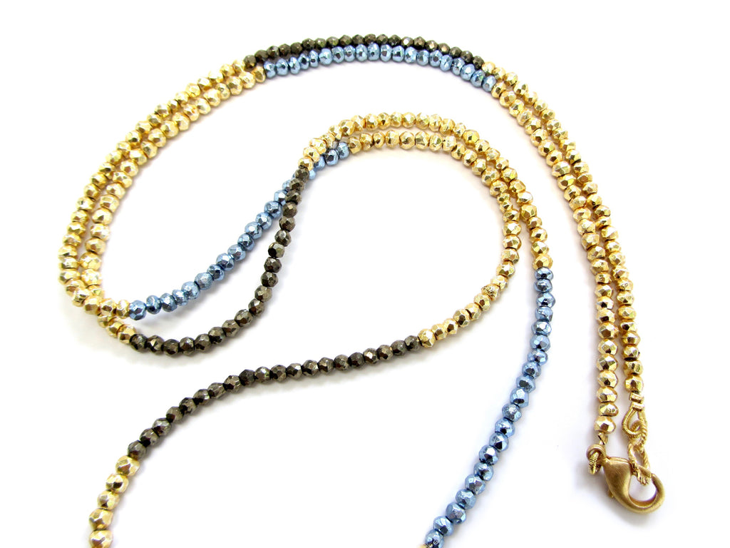 DASH Gold, Blue & Brown Pyrite Necklace