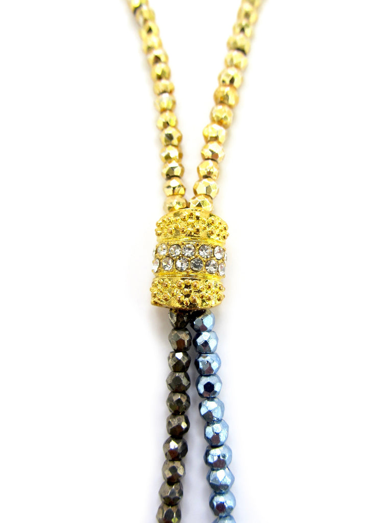 DASH Short Susan Gold, Blue, & Brown Pyrite Necklace