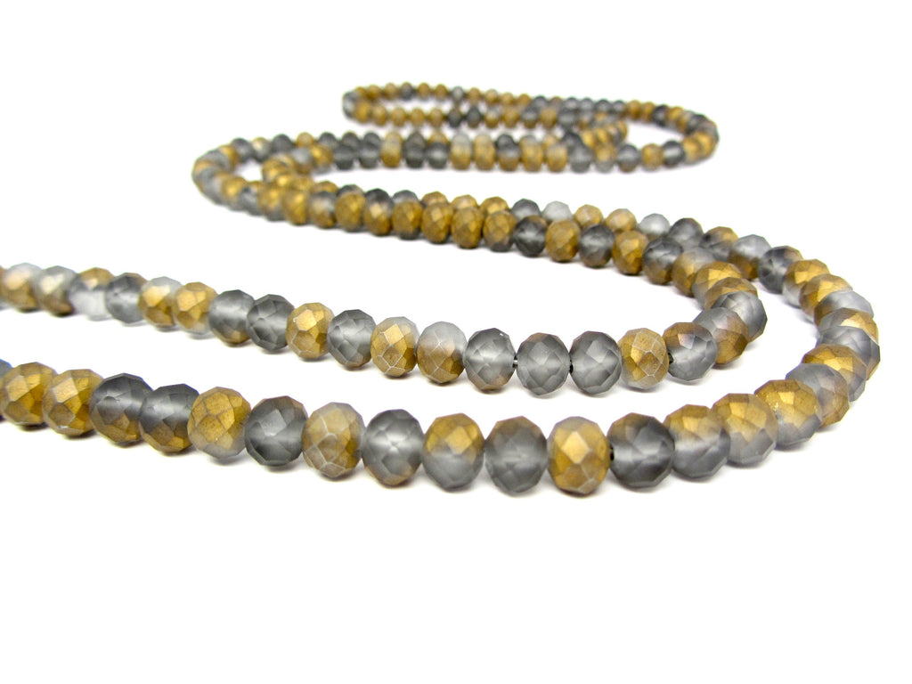 Gray and Gold Lariat with Fringe Ends
