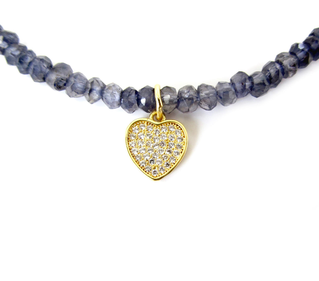 Hanging Pave Heart Charm Necklace