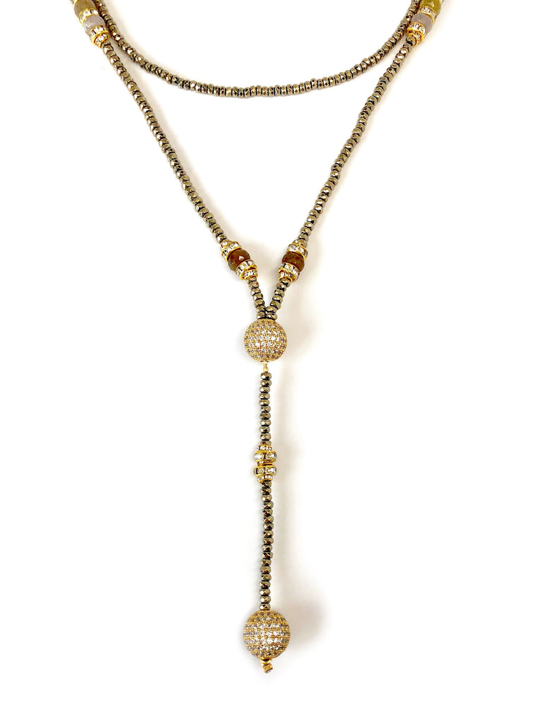 Victoria Gold Hematite, Sapphire & Pave Ball Necklace