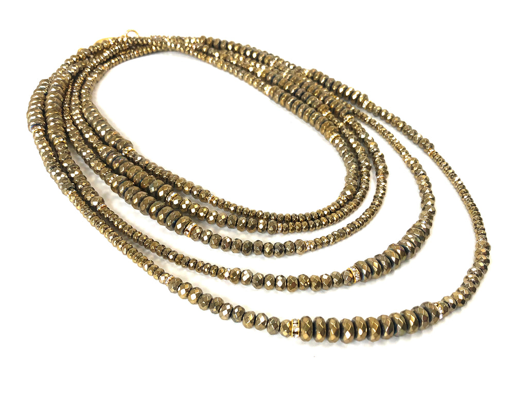 Lori Gold Hematite Opera Necklace