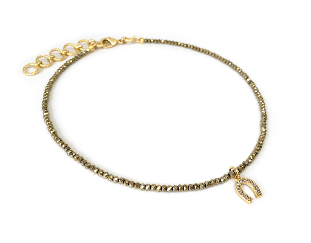 Gold Pave Horseshoe Charm Necklace