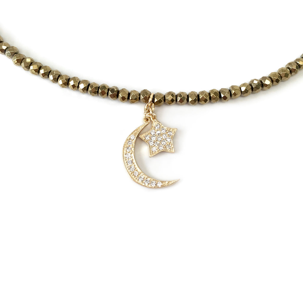 Dangling Moon & Star Charm Necklace