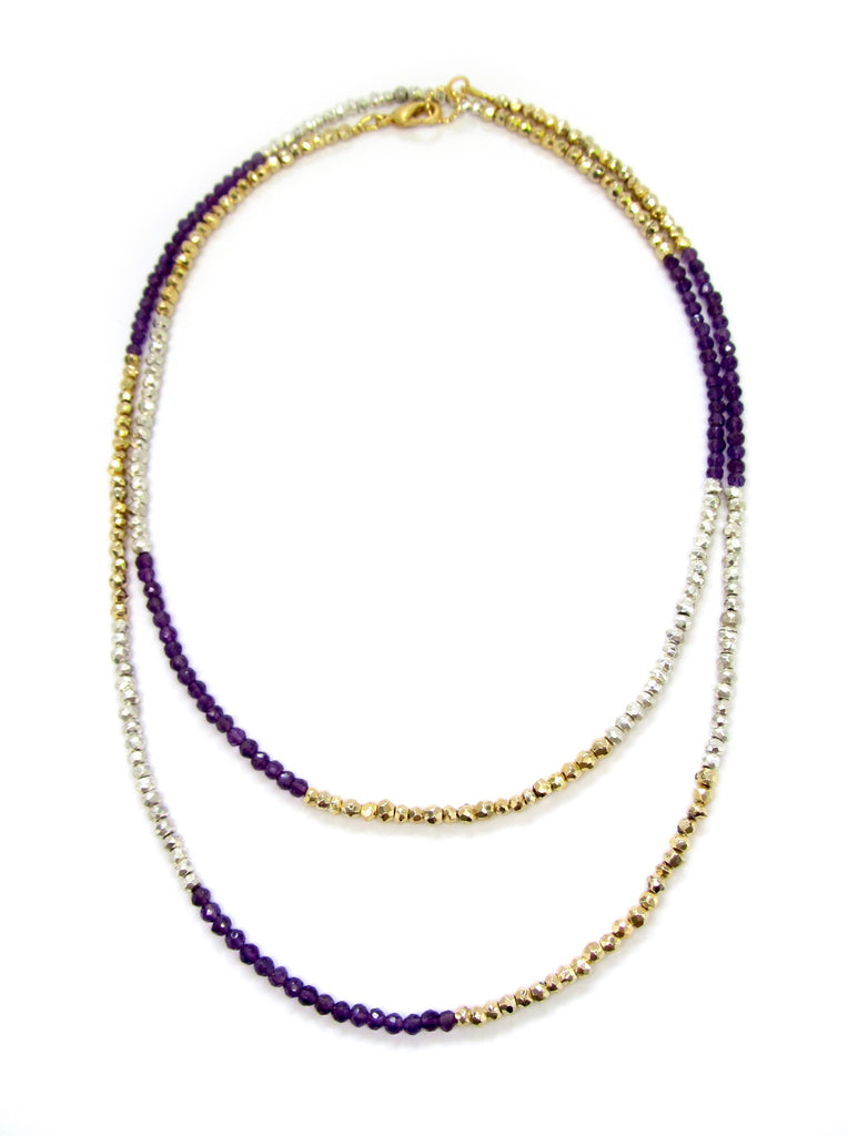 DASH Silver Pyrite, Gold Pyrite, & Amethyst Necklace