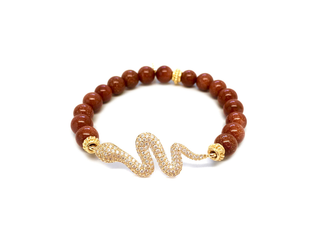 Brown Goldstone Bracelet with Gold Pave Snake Charm