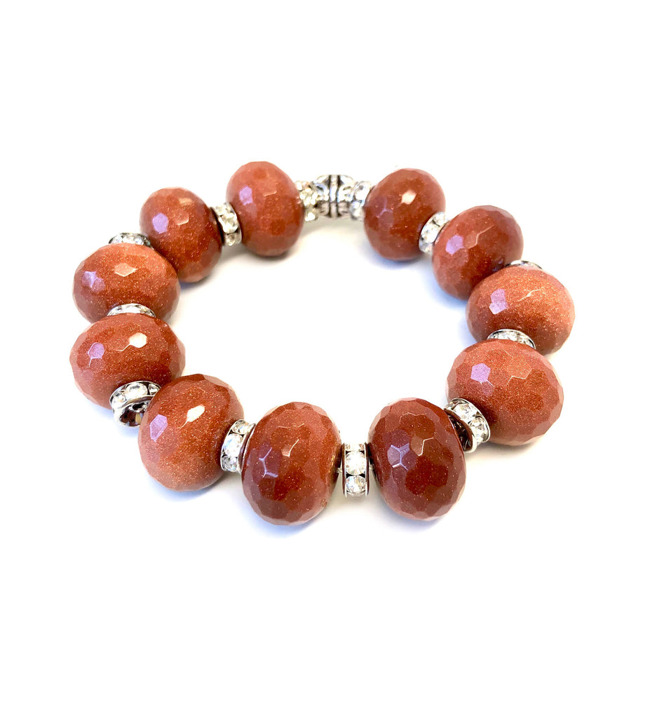 Sparkly Goldstone Bracelet with Pave Spacers