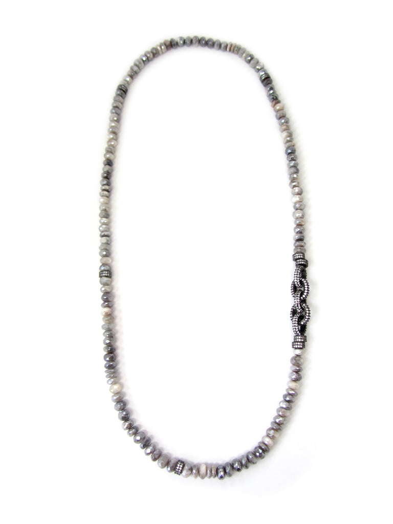Grey Moonstone Necklace with Pave Chain Links