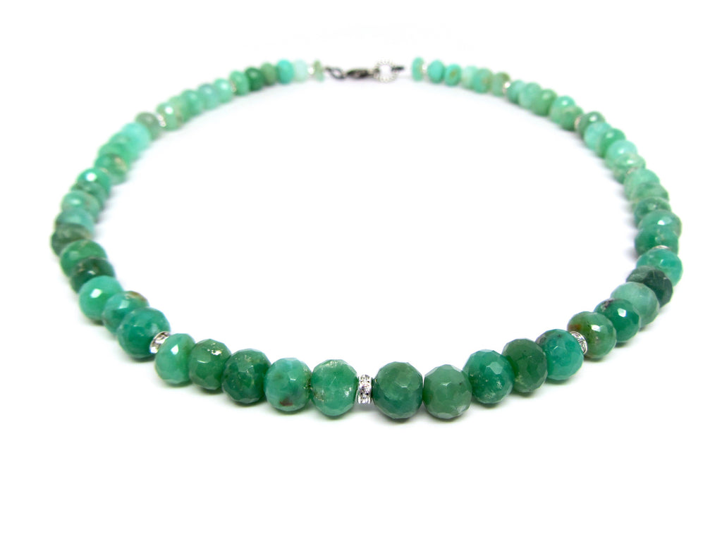 Short Chrysoprase Necklace with Pave Spacers