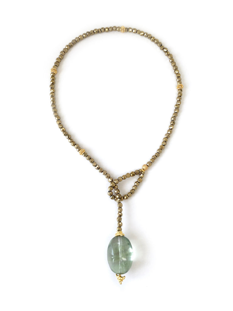 Gold Hematite with Fluorite Stone Drop Necklace