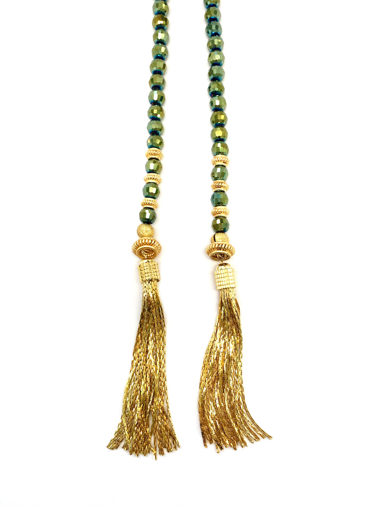 Iridescent Green & Gold Lariat with Fringe Ends