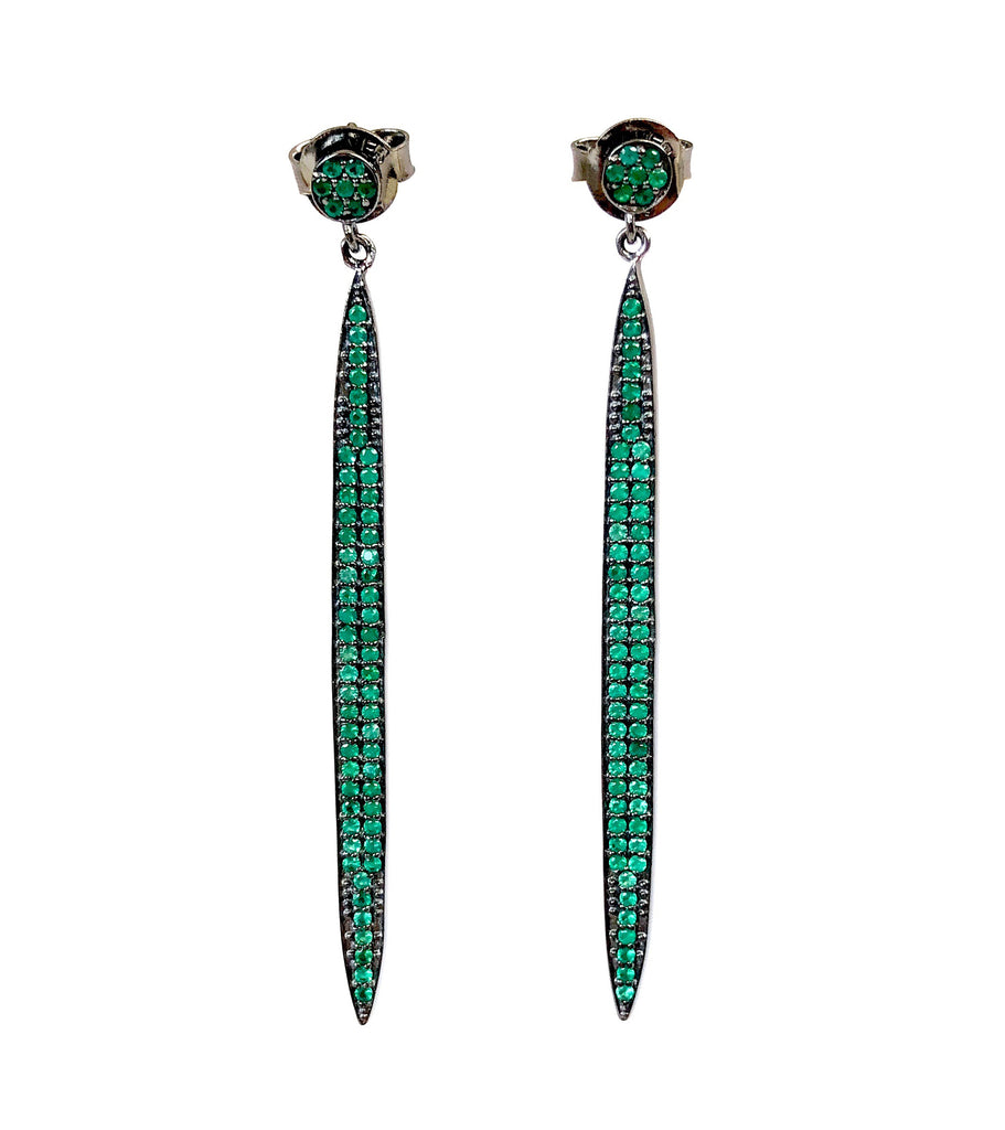 Green Onyx Long Stick Earrings