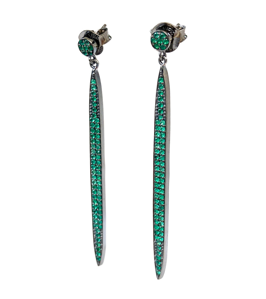 Green Long Stick Earrings
