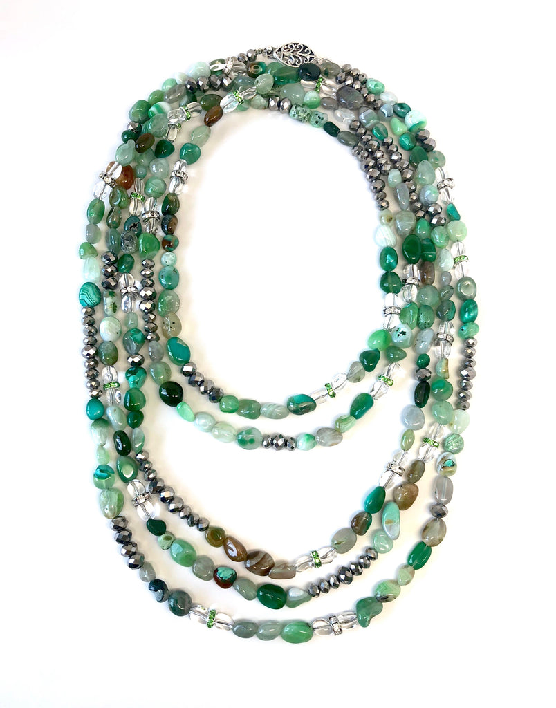 Lori Silver & Green Stone Opera Necklace