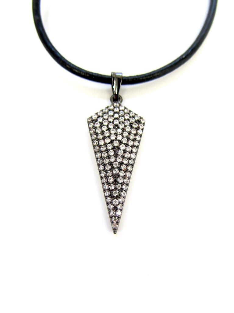 Leather Choker with Gunmetal Pave Arrow