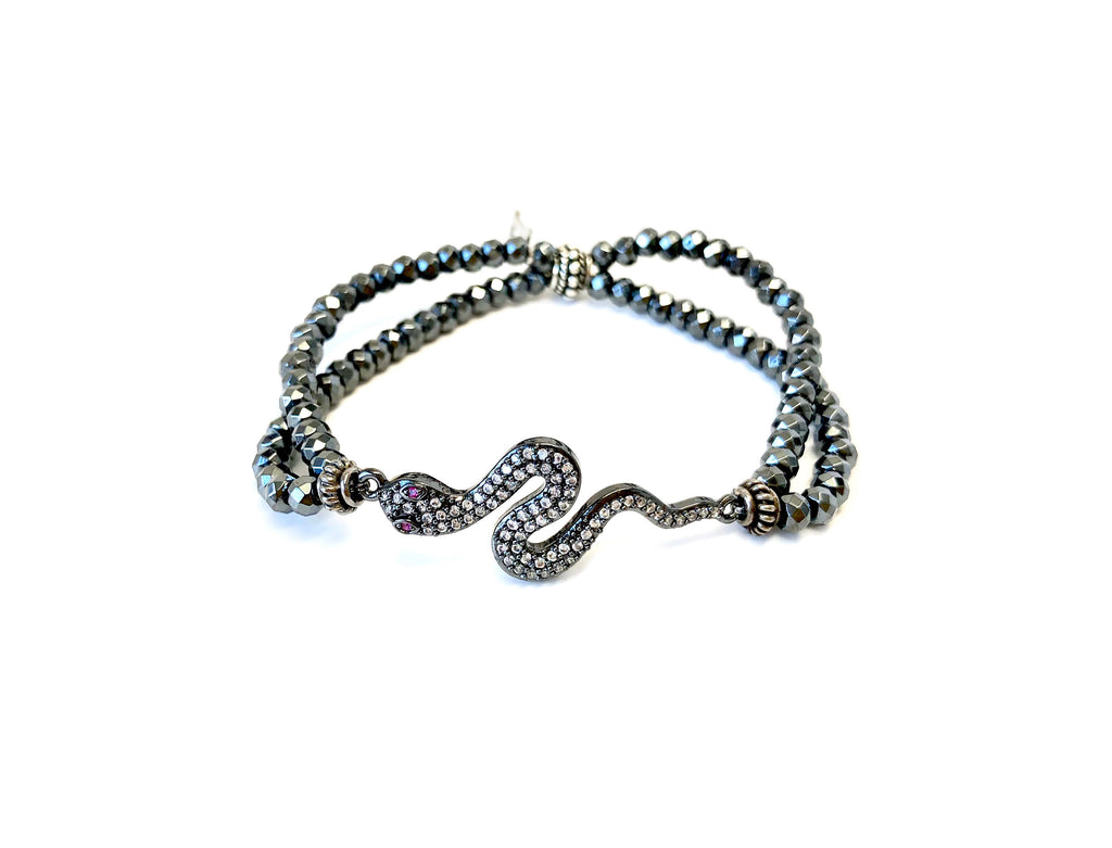 Ruby Eye Snake Charm on Double Strand Hematite Bracelet