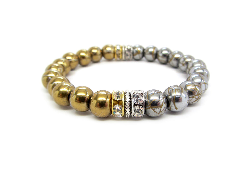 Silver, Gold, & Pewter Crackle Bracelets