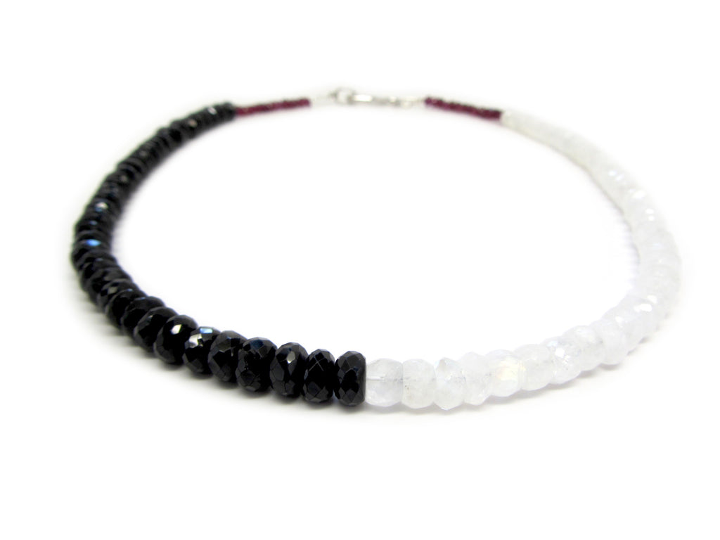 Yin Yang Moonstone & Spinel Necklace