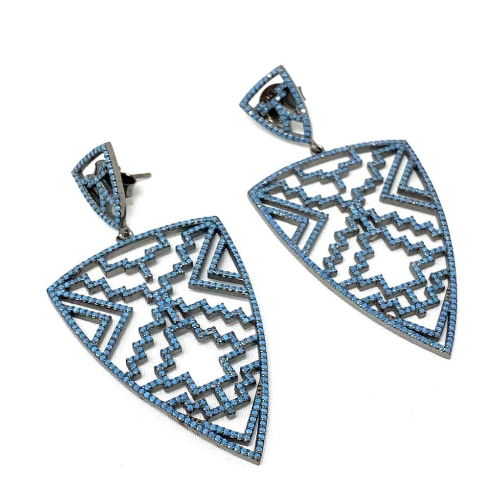 Turquoise Aztec Shield Earrings