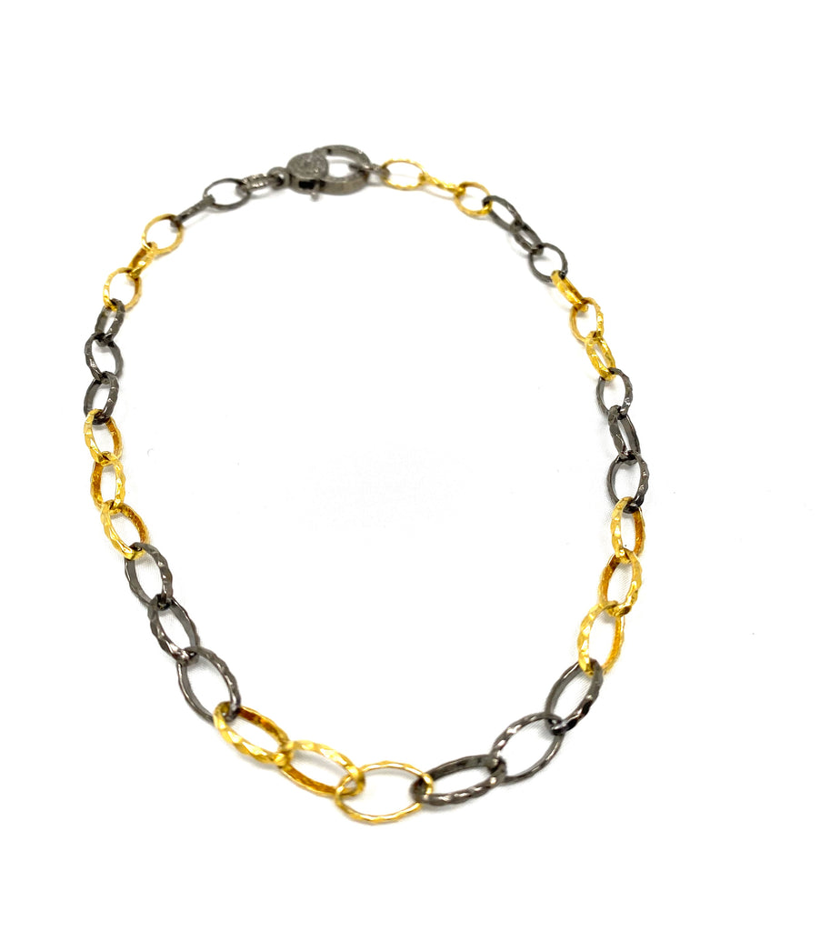 Gold Vermeil and Sterling Silver Link Necklace