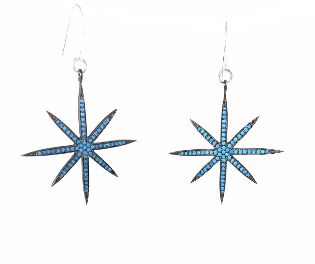 Turquoise 8-Point Star Earrings