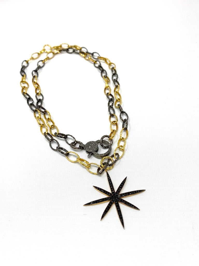 Large Black Spinel 8-Point Star Pendant on Silver & Vermeil Link Chain