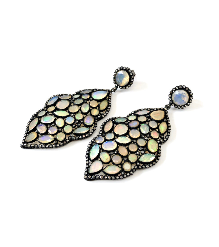 Ethiopian Opal & Diamond Freeform Earrings