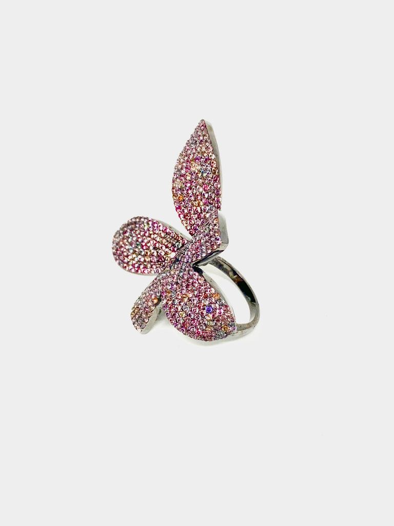 Tourmaline Butterfly Flower Ring