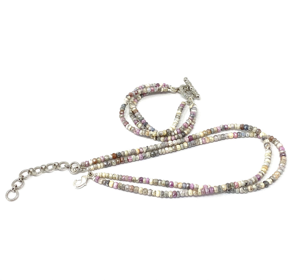 Double Strand Pastel Silverite Necklace