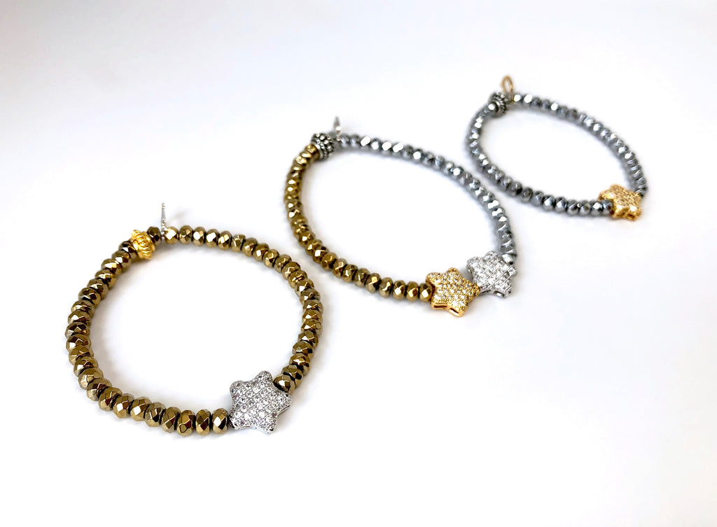 'Mommy & Me' Silver & Gold Star & Hematite Bracelet Set