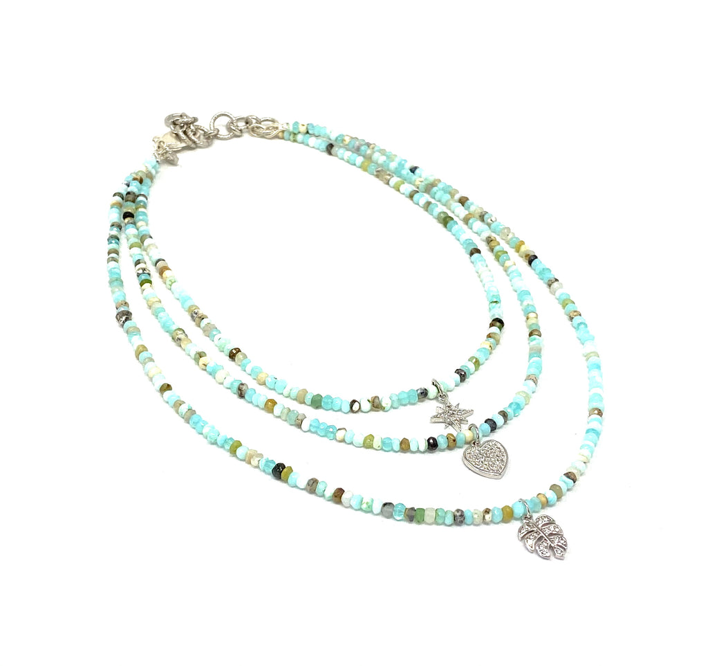 Triple Strand Semi Precious Gemstone Necklaces
