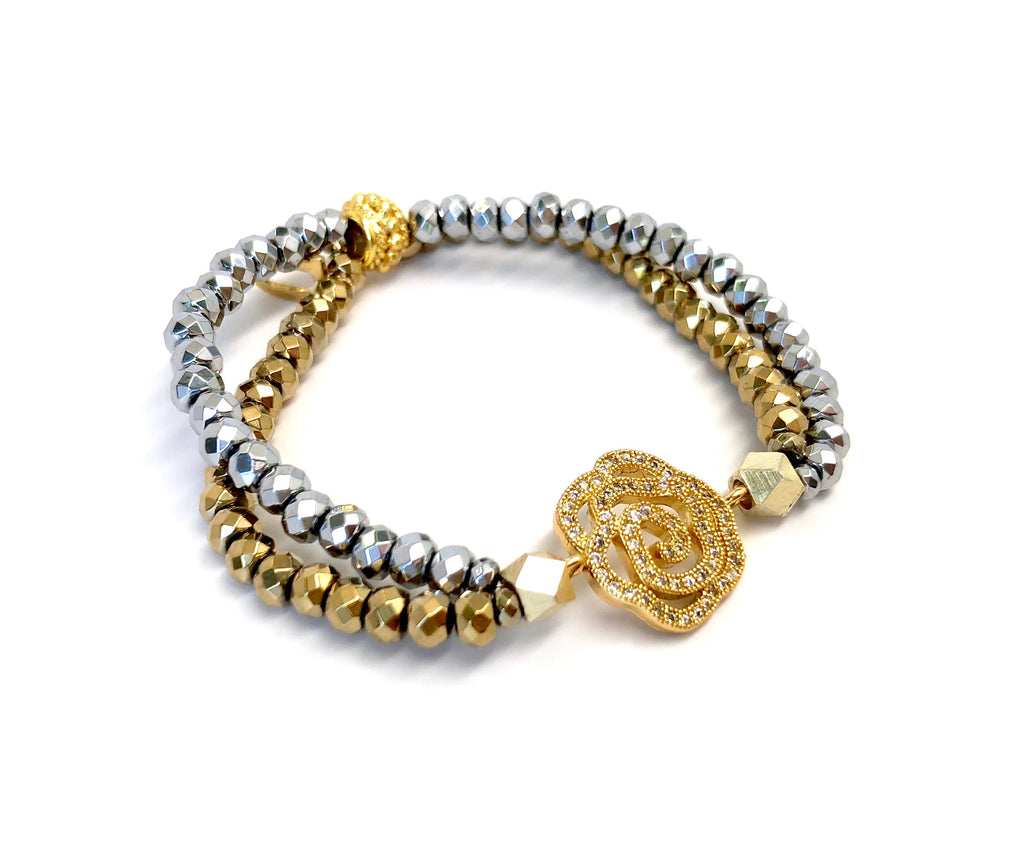 Silver & Gold Double Strand Rose Bracelet