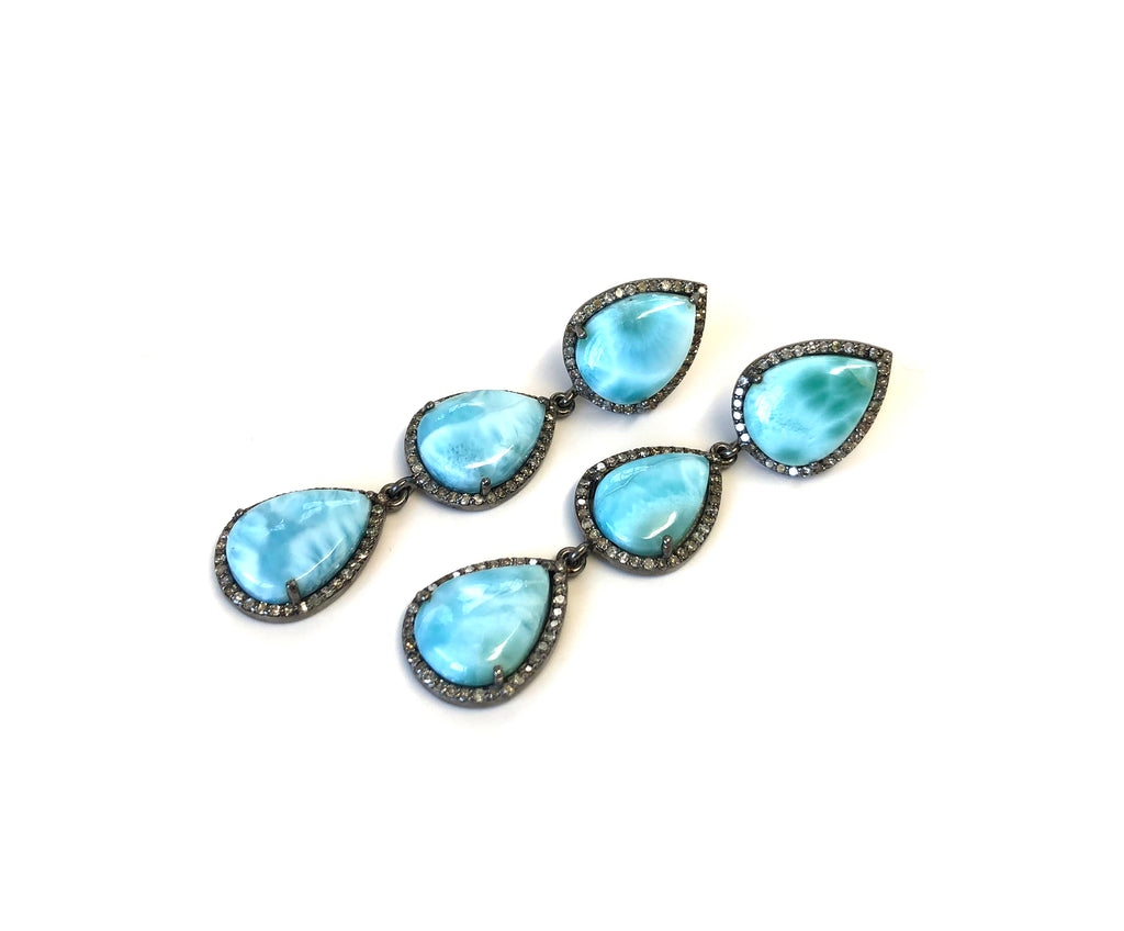 Larimar & Diamond Earrings