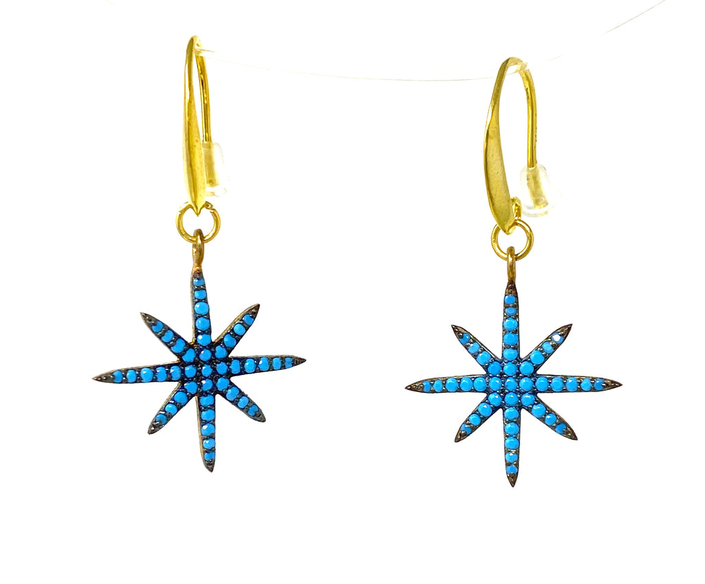 Baby Turquoise 8-Point Star Earrings