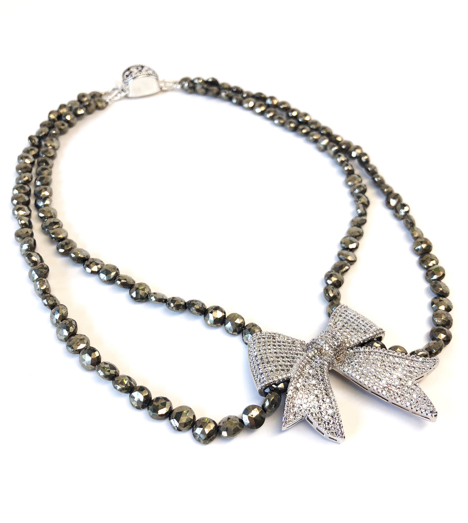 Double Strand Pyrite Necklace with Pave Bow