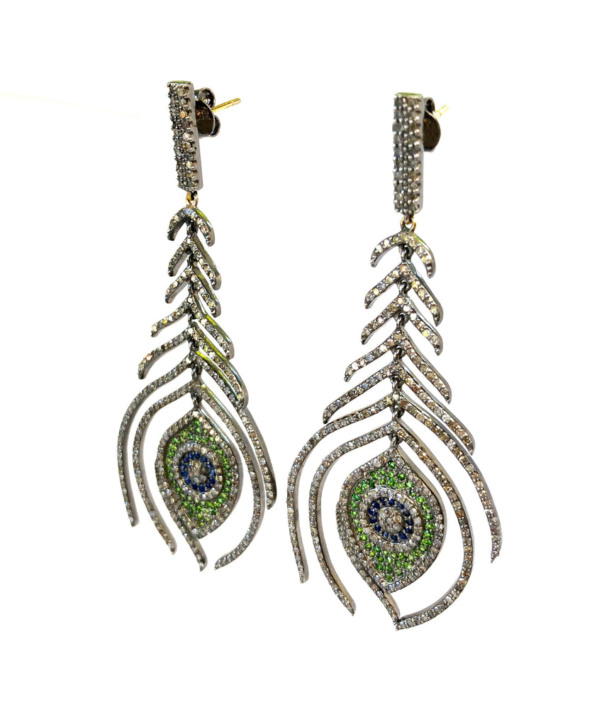 Diamond, Sapphire, and Emerald Peacock Feather Earrings