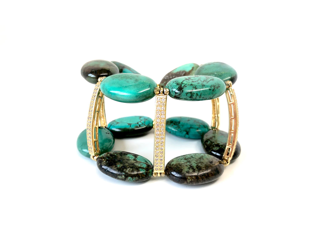 Turquoise & Pave Bar Cuff Bracelet