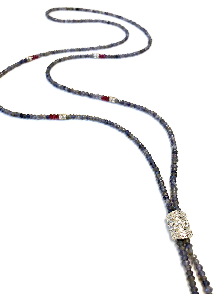 Susan Short Blue Iolite and Garnet Necklace