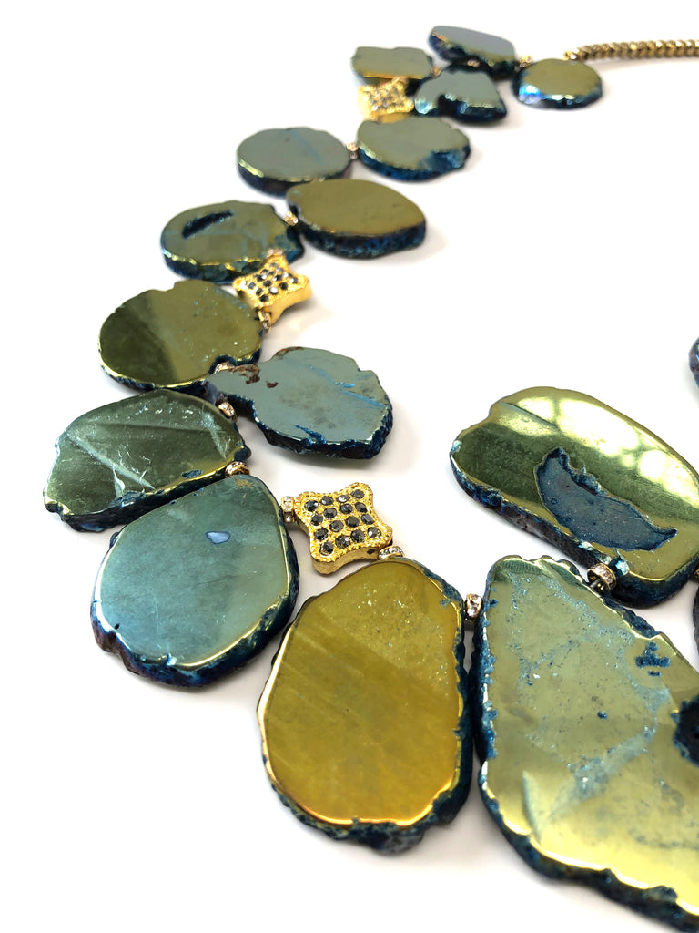 Iridescent Green, Blue & Gold Flat Pyrite Stone Necklace