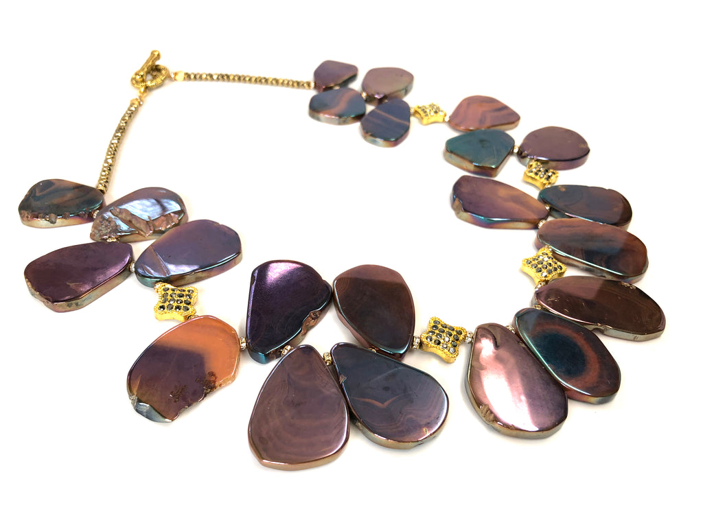 Iridescent Purple, Blue & Gold Flat Pyrite Stone Necklace