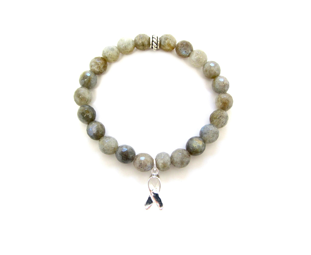 Breast Cancer Awareness Labradorite Ribbon Charm Bracelet