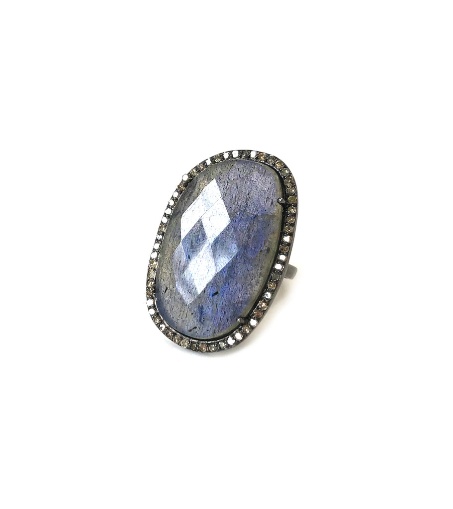 Labradorite & Diamond Ring