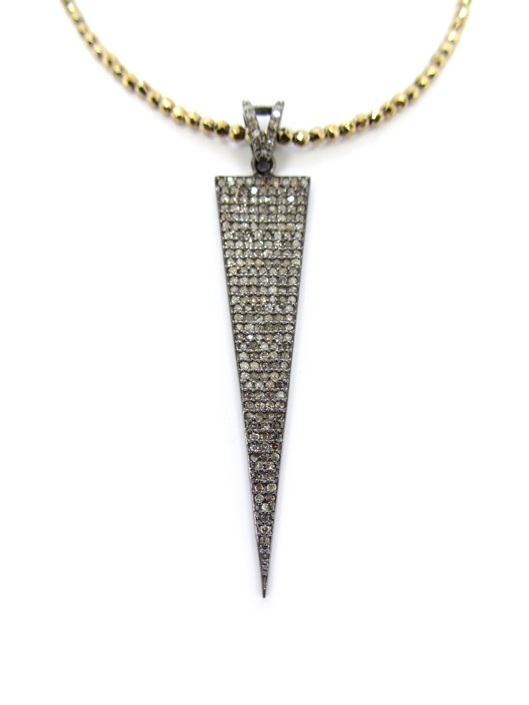 Large Diamond Dagger Pendant on Hematite & Pyrite Necklace