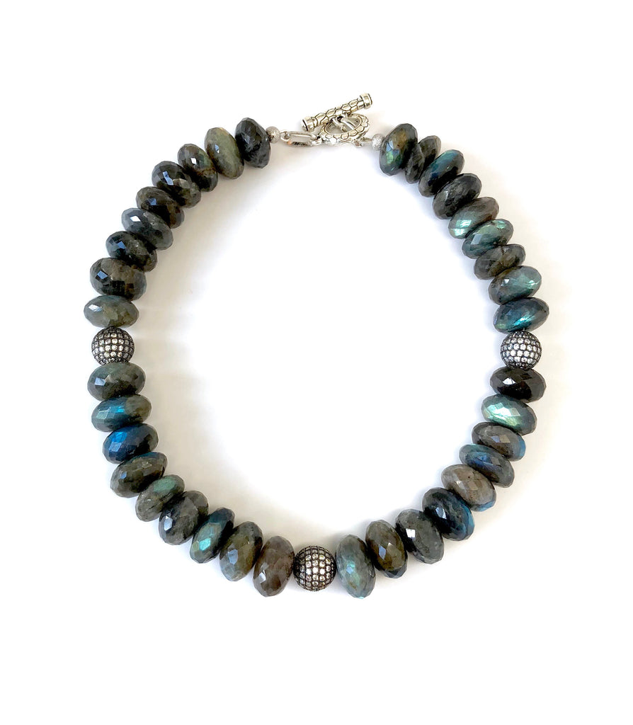 Labradorite Necklace with Pave Ball Accents