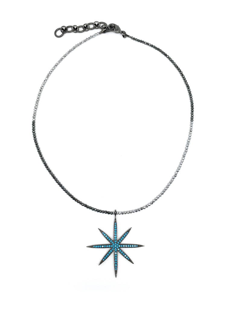 Large Turquoise Star Pendant on Silver & Gunmetal Hematite Necklace