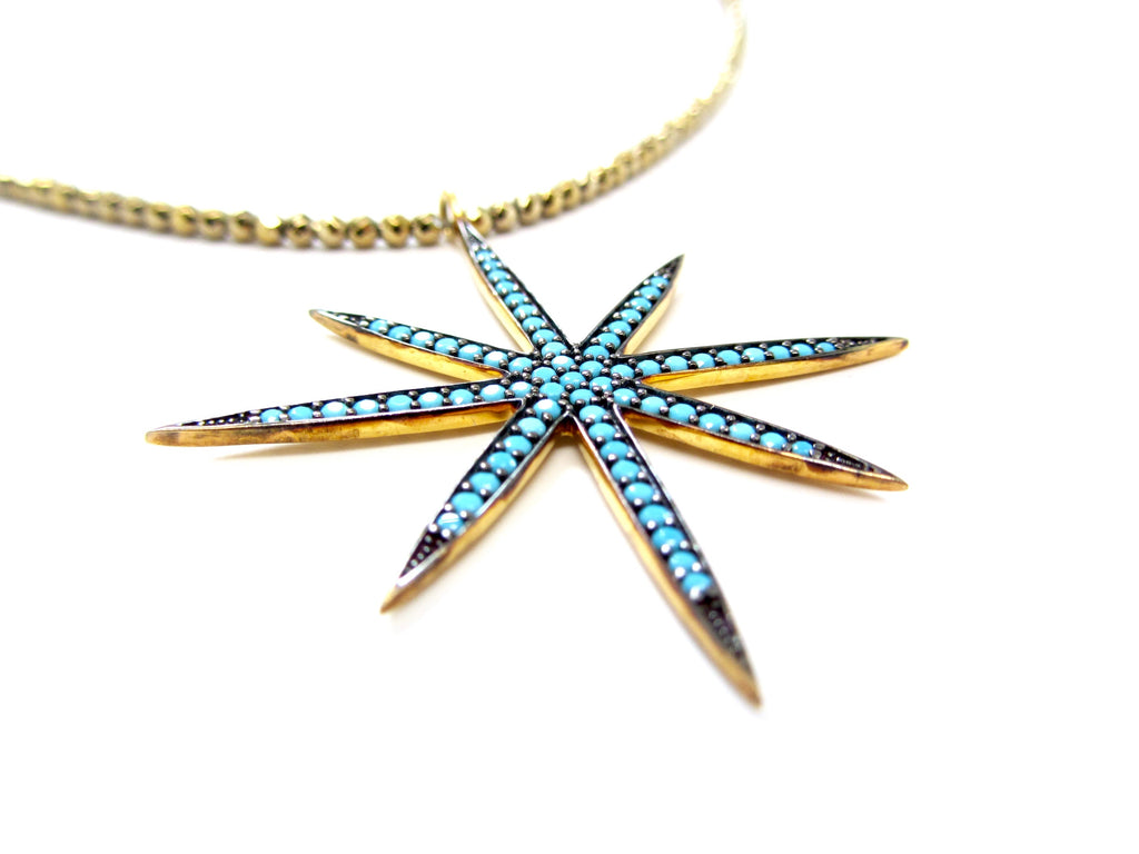Large Turquoise 8-Point Star Pendant on Gold Hematite Necklace