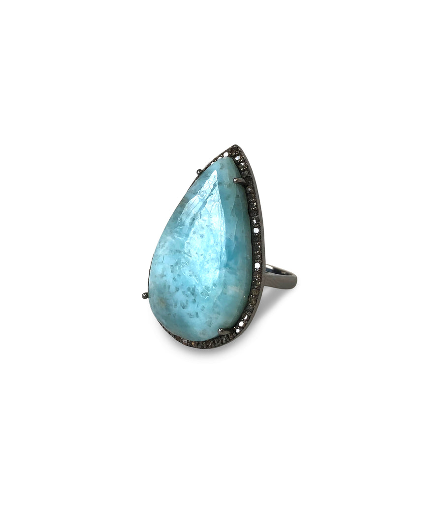 Larimar & Diamond Ring