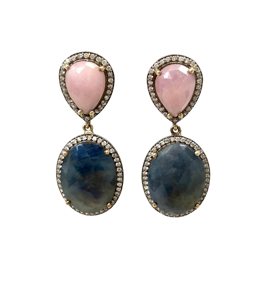 Light Pink & Blue Sapphire Earrings