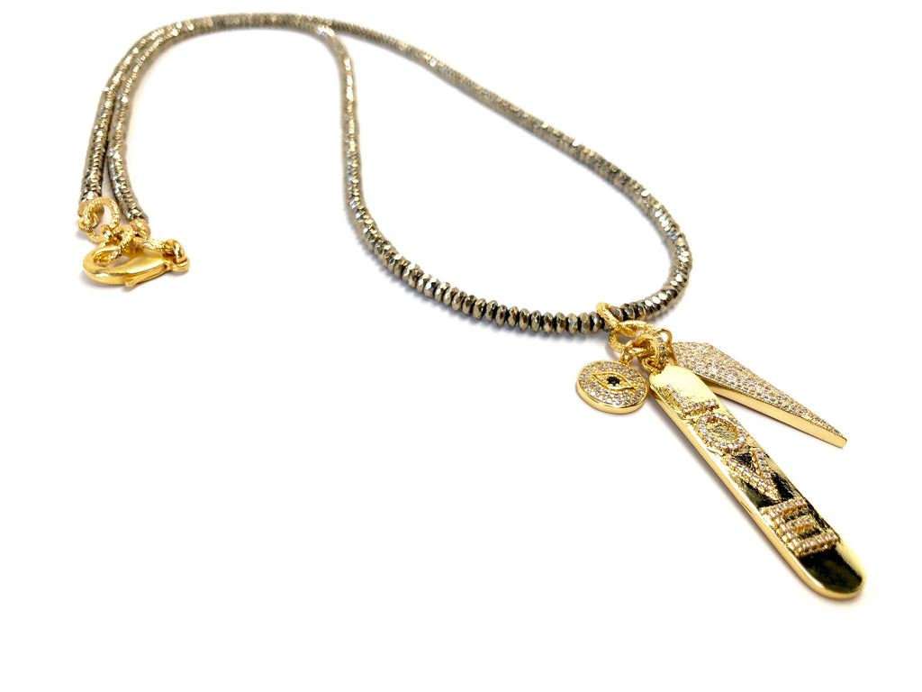 Gold Arrow, Love & Evil Eye Long Charm Necklace